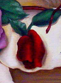 "Detail of a rose from ""Remember Me,"" a painting about communion.  The red rose symbolizes the forgiveness of Christ."