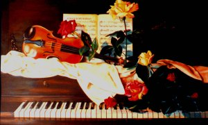 I painted this scene of roses and a violin on a piano some years ago.  Music and flowers say things words cannot express.